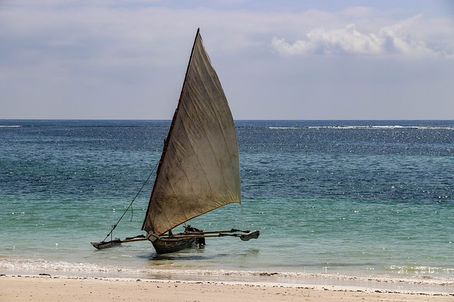 Boat kenya. Beautiful beaches of the southern coast and green travel.